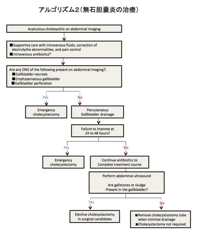 アルゴリズム2(無石胆嚢炎の治療)